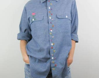 Vintage 70s Chambray Shirt Hand Embroidered Flowers JCPenney Big Mac Oversized / Large L