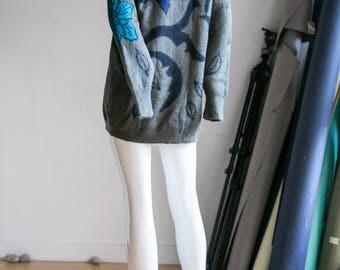 Vintage Escada |Escada Sweater | Vintage Wool Sweater | Floral Wool Sweater| Mohair Sweater | Mohair Escada Sweater | Unique Vintage Sweater