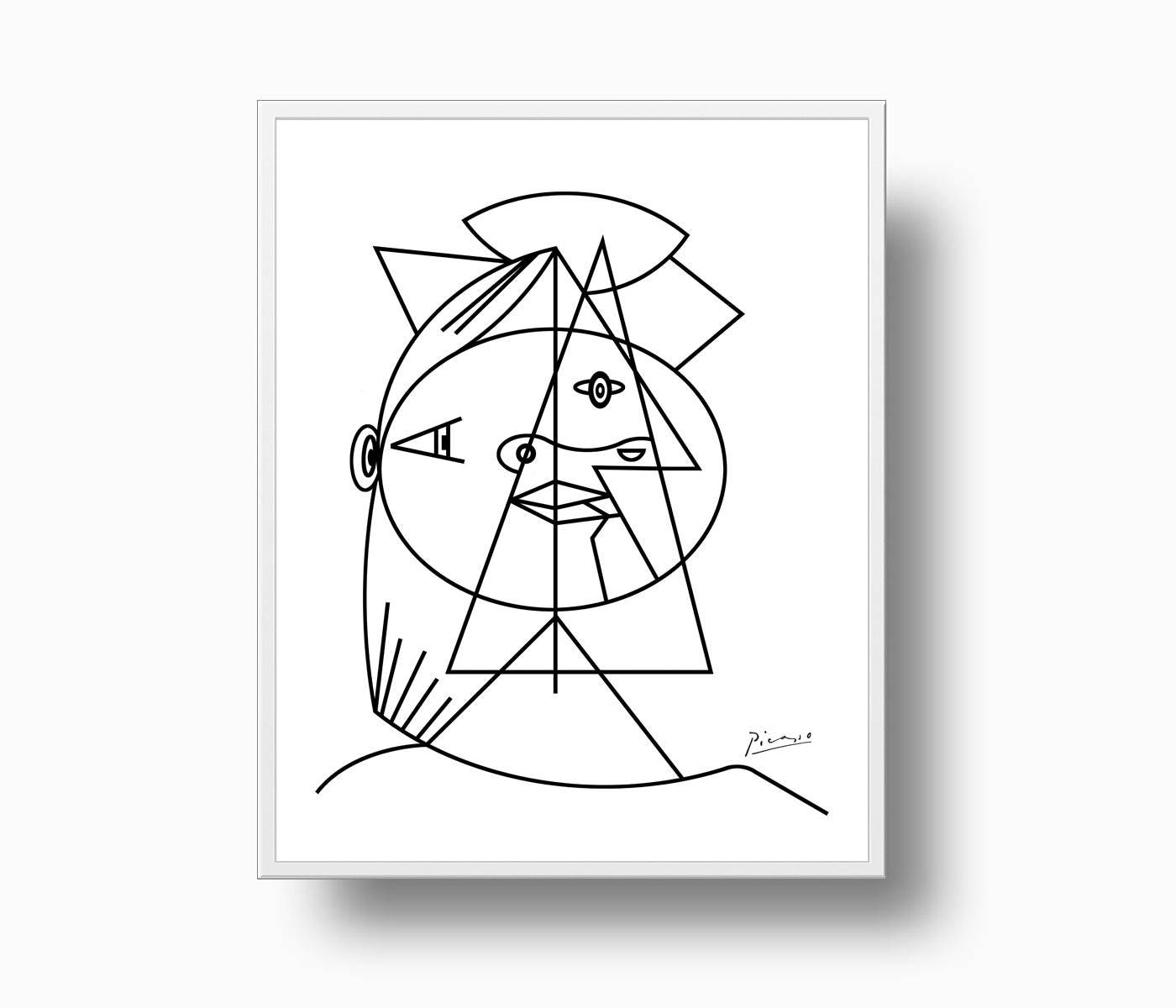 Picasso Line Drawing Face : Picasso print woman abstract head of a