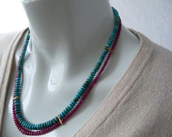 Ruby & turquoise necklace - red green gold - GemChristina RO30000