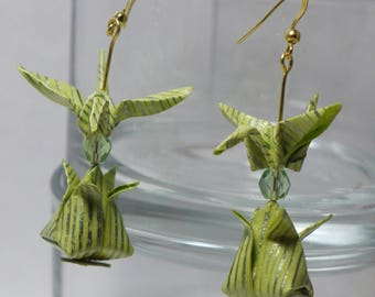 Origami crane and Tulip earrings