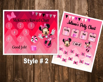 Minnie Mouse Themed Reward Chart & Potty Chart - Digital PDF Files - or Minnie, Mickey, Frozen, Paw Patrol, Princesses, and more!