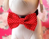 Red Hearts Valentine's Dog Bow Tie, Pretty Fun Pattern Red Bow Ties for Dogs / Cats Wedding Dress Up, Dog Bowtie fits Small Medium Large Pet