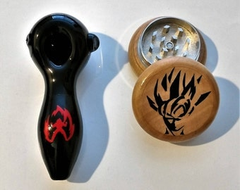 Goku Black Glass Pipe Wood Grinder Magnetic Magic Grinding Combo Best Deal!!! + Free Shipping!!!