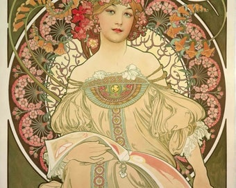 Alphonse Mucha Champagne Poster A3 or A4 Matt, Glossy or Art Canvas Paper