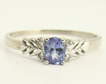 Vintage Amethyst And Diamond Ring- 14k White Gold