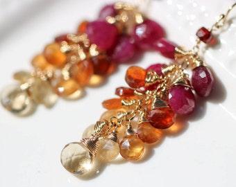 Cluster Ruby Earring, Ruby Dangle Earring Red Gemstone Earring Garnet Earring Cluster Red Earring Dangle Earring Gold Long Earring