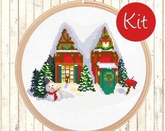 Modern Christmas Gift Cross Stitch Pattern -  X-mas Cross Stitch, Counted Cross Stitch Pattern - PDF - Instant Download