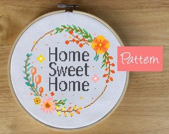 Modern Home Decor Cross Stitch Pattern - Home Sweet Home Cross Stitch- Wreath Cross Stitch - Floral, Flower, PDF, Chart, Gift, Spring