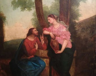 Antique Oil painting on Canvas French Religious Portrait Landscape Christ with Samaritan Woman 19th century