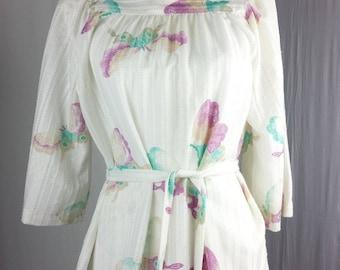 Vintage Trissi Womens shirt blouse tunic top sz M butterfly hippie boho peasant