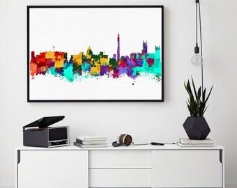 Washington DC Skyline Art, Washington DC Print, Watercolor Cityscape, Washington DC Poster, Home Decor Wall Art, Abstract Art (N131)
