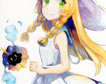 Lillie and Nebby | pokemon sun and moon, pokemon print, video game print, anime print, gamer gift, small art print, small anime print
