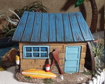 Fairy Garden Beach House, Beach Themed Fairy House, Fairy Home for Miniature Gardening, Seaside Cottage, Ocean Shack, Summer Fairy Garden