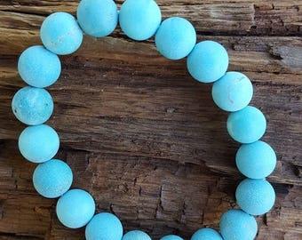 "8"" 10mm Stretch Turquoise Magnesite Gemstone Bracelet, Stretch Matte Turquoise Bracelet, Turquoise Bracelet, Large Matte Turquoise Bracelet"