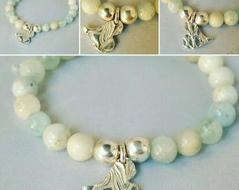 Sterling Silver Aquamarine Bracelet Heart Bracelet  Stretchy Silver Bracelet Blue Beaded Bracelet Boho Bracelet Blue Gemstone Bracelet Gift