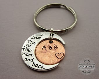 I love you to the moon and back custom keychain, Penny Keychain,Anniversary Gift, Boyfriend Gift, Husband Gift, Wife Gift, Personalized Gift