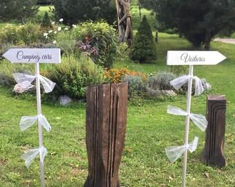 Panneaux direction en bois cuivre ou argent ou or  pour mariage. Pancartes mariage. Flèche mariage.Signalétique bois. Wedding wood sign