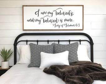 Awesome Master Bedroom Sign | I Am My Beloveds | Bedroom Wall Decor | Wood Signs |