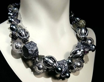 Big and bold silver necklace, statement choker, boulder quartz crystal, glass beads, WOW Factor