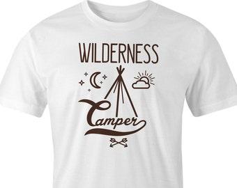 Wilderness Camper T-Shirt Print, Wilderness Camper printed T-Shirt, Campers Wild Camping T-Shirt Print, Wilderness Camping T-Shirt Print.