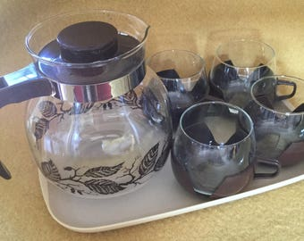 Vintage Glass Coffee Pot with 4 glasses
