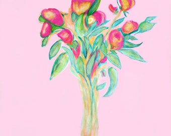 Pink Roses-matted art print of original painting by Ken Tesoriere