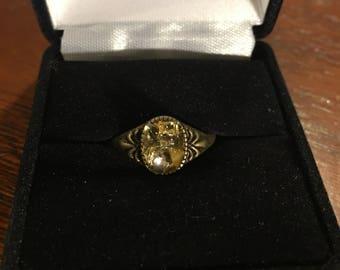 Citrine antique bronze ring