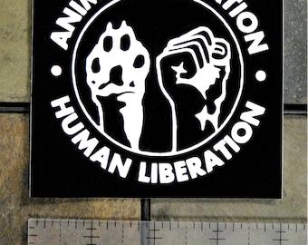 "4x4"" Human & Animal Liberation Vinyl Sticker (Waterproof) - ALF Front Welfare Rights Punk Anarcho Anarchy Vegan Vegetarian Peta Earth First"