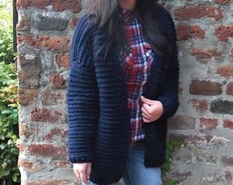 Knit cardigan Oversized cardigan Hand knit cardigan Chunky knit cardigan Knit coat