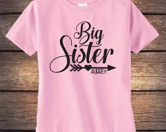 Big Sister Shirt - Personalized Shirt - Sibling Shirt - Baby Announcement - Pregnancy Announcement - Little Sister - Baby Sister - Glitter