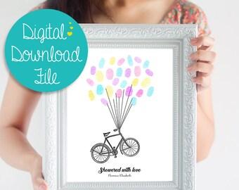 Baby Shower Guest Book Alternative ~ Gender Neutral Baby Shower Decoration ~ New Baby Guest Book ~ Balloon Fingerprint Guest Book ~