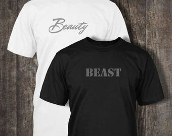 Beauty and the Beast T-shirts! His and Hers, Twin Pack for Couples