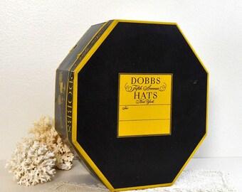 vintage Dobbs New York hat box yellow black octagonal hatbox large hatbox