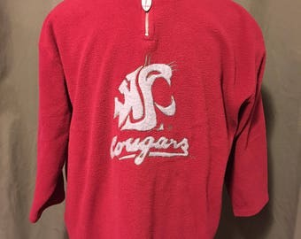 Vintage Washington State University Cougars Fleece Zip Pullover, Size: XLarge