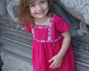 Pink dress for girls, toddler pink dress, princess dress toddler, girl shift dress, A-line pink dress for baby girl, hot pink girls dress