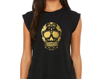 Day of the Dead Clothing - Women's Flowy Muscle Tee with Rolled Cuff - skull tank  (8804) gold vinyl