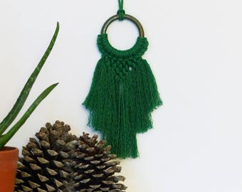 RESERVATION, small green macrame hanger, decorative textile nayquach