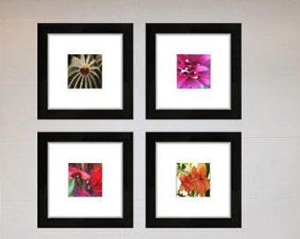 Set of 4 Photography Prints, Floral Photography, Bathroom Wall Decor, Square Prints, Horticulture Photo Set, Flowers and Leaves Photography