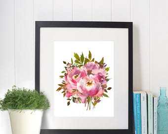 Flower bouquet digital art, flower digital print, flower printable, flower digital art, flower decor, flower download, watercolor flower art