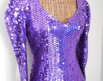 Oleg Cassini Purple Sequin Dress