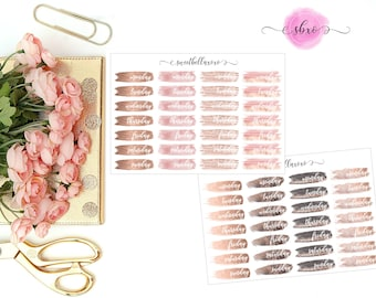 Neutral Brush Stroke Date Cover Planner Stickers / Brush Stroke Date Covers / Date Cover / ECLP