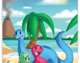 25% OFF CODE - A3 Dinosaur Beach Poster