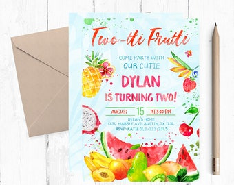 Twotti Frutti, Two year old Birthday Party, Two Year Invitations, Two-tti Frutti Birthday Invitation, Fruit Theme invitation, Summer invite