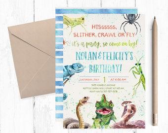 Reptile Invitation, Reptile Birthday Invitation, Reptile Birthday Party, Creepy Crawly Birthday, Lizard Invitations, Reptiles Invites,