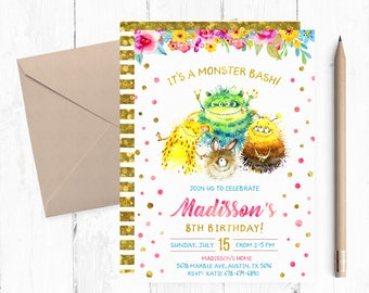 Monsters Invitation, Monsters Birthday Party Invitations, Monsters Invitations, Monster Invites, Monster Invite, Monsters Party Invites,