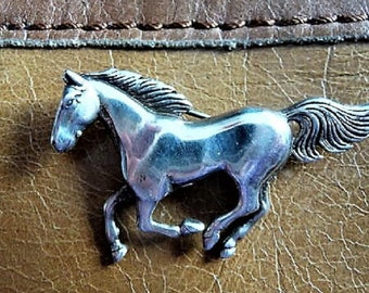 Horse .. Sterling Silver Galloping Horse Pin Brooch --  Vintage Jewelry Find