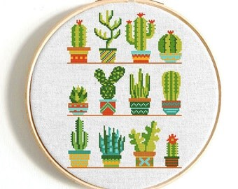 Mini Cactus cross stitch pattern Flower cross stitch sampler Modern cross stitch chart Easy cross stitch PDF Coupon Code instant download