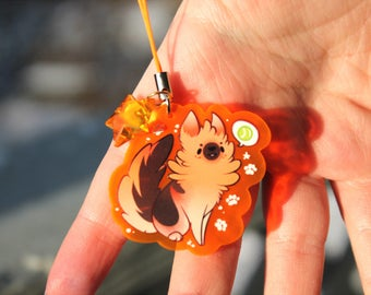 Ruffian the German Shepherd Puppy - UV Reactive Acrylic Charm 1.5 Furry Keychain Cellphone Strap