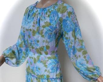vintage 70s dress floaty hippy boho maxi 1970s dress  bohemian s  m  10 / 12 uk